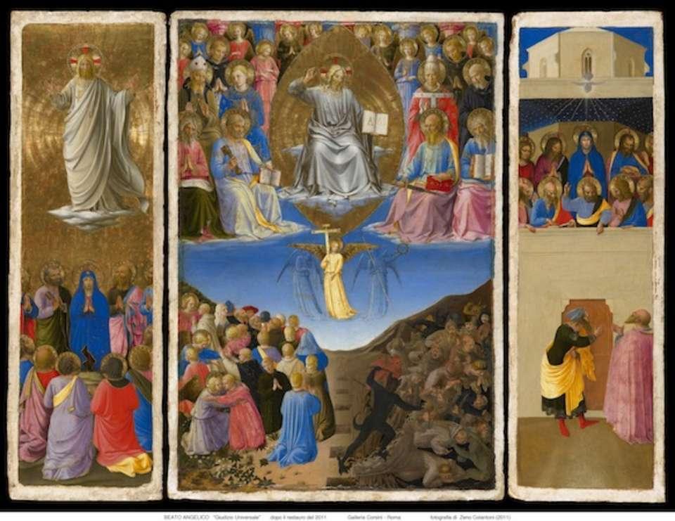trittico GIUDIZIO UNIVERSALE, Pentecoste ed Ascenzione del Beato Angelico
