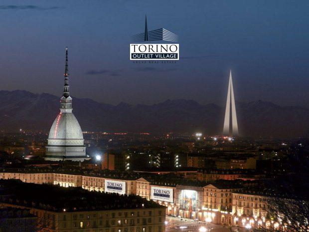 obelisco Torino Outlet Village e la Mole Antonelliana